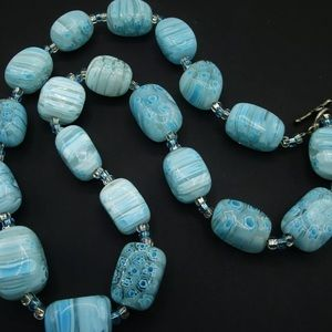 Vintage Murano Millefiori Glass Toggle Necklace